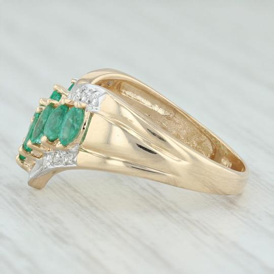 Other .55ctw Emerald Diamond Cocktail Ring 14k Size 6-6.25 V-Contour Band Image 2