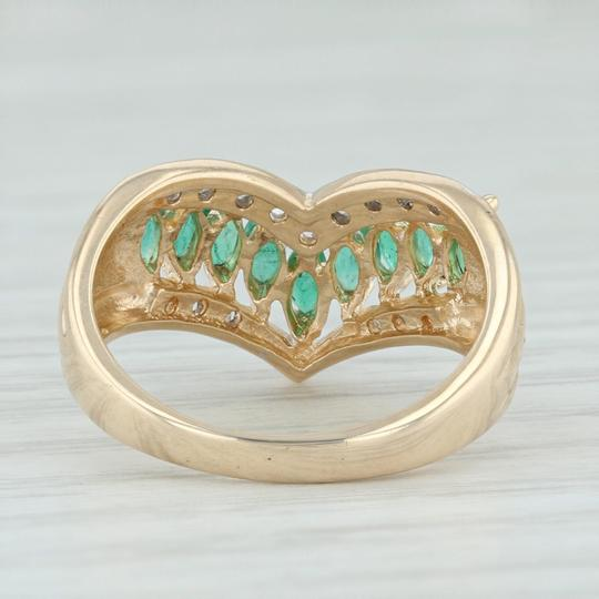 Other .55ctw Emerald Diamond Cocktail Ring 14k Size 6-6.25 V-Contour Band Image 3