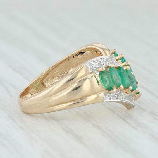 Other .55ctw Emerald Diamond Cocktail Ring 14k Size 6-6.25 V-Contour Band Image 4