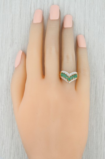 Other .55ctw Emerald Diamond Cocktail Ring 14k Size 6-6.25 V-Contour Band Image 6