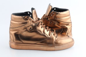 Balenciaga Brown Leather Copper High Top Sneakers Shoes