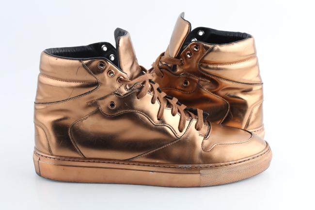 Item - Brown Leather Copper High Top Sneakers Shoes