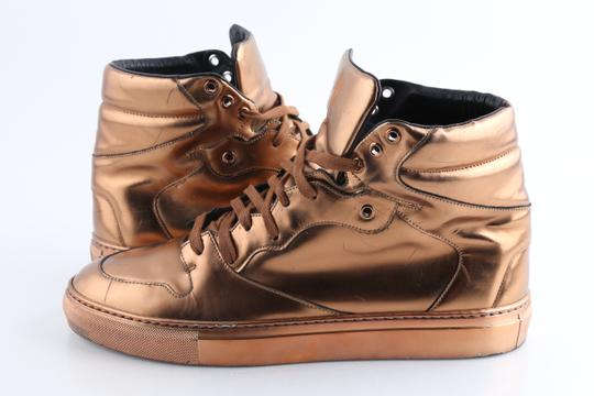 Balenciaga Brown Leather Copper High Top Sneakers Shoes Image 1
