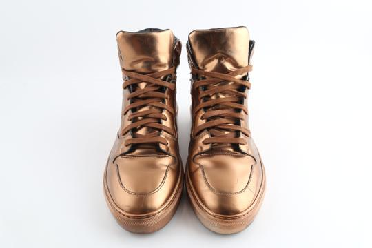 Balenciaga Brown Leather Copper High Top Sneakers Shoes Image 2