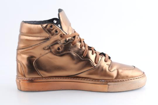Balenciaga Brown Leather Copper High Top Sneakers Shoes Image 4