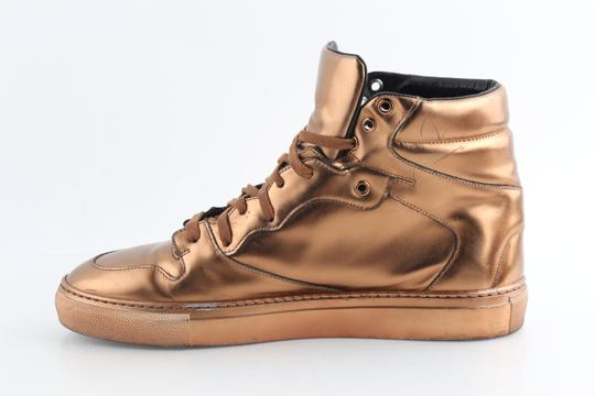 Balenciaga Brown Leather Copper High Top Sneakers Shoes Image 5