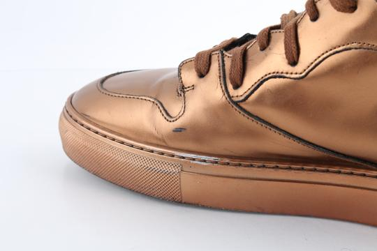 Balenciaga Brown Leather Copper High Top Sneakers Shoes Image 7