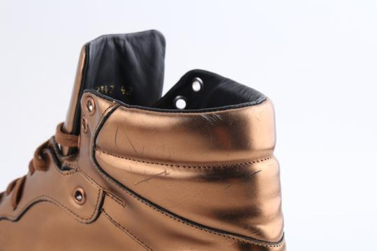 Balenciaga Brown Leather Copper High Top Sneakers Shoes Image 8