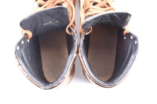 Balenciaga Brown Leather Copper High Top Sneakers Shoes Image 9