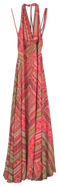 Item - Red Green Silk Halter Long Casual Maxi Dress Size 4 (S)