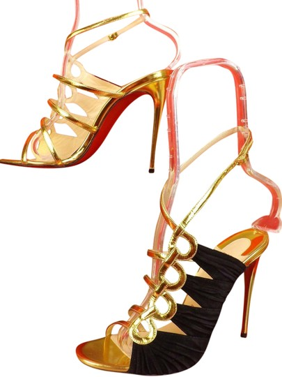Preload https://img-static.tradesy.com/item/25813756/christian-louboutin-black-tina-cage-100-gold-patent-leather-suede-sandals-pumps-size-eu-40-approx-us-0-1-540-540.jpg
