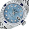 Rolex Ladies Datejust Stainless Steel with Blue Stamp Diamond Dial Watch Image 0