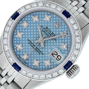 Rolex Ladies Datejust Stainless Steel with Blue Stamp Diamond Dial Watch