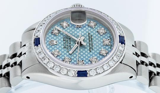 Rolex Ladies Datejust Stainless Steel with Blue Stamp Diamond Dial Watch Image 5