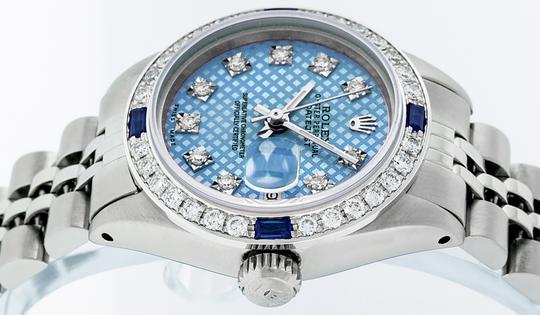 Rolex Ladies Datejust Stainless Steel with Blue Stamp Diamond Dial Watch Image 7