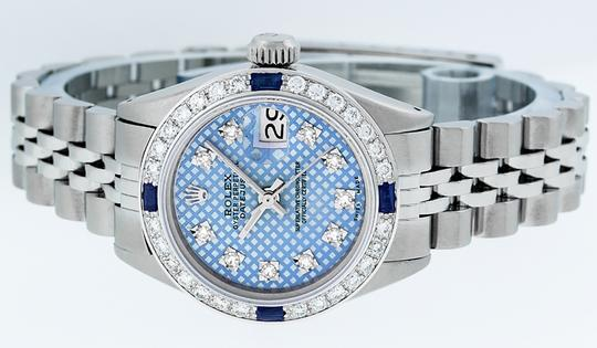 Rolex Ladies Datejust Stainless Steel with Blue Stamp Diamond Dial Watch Image 8