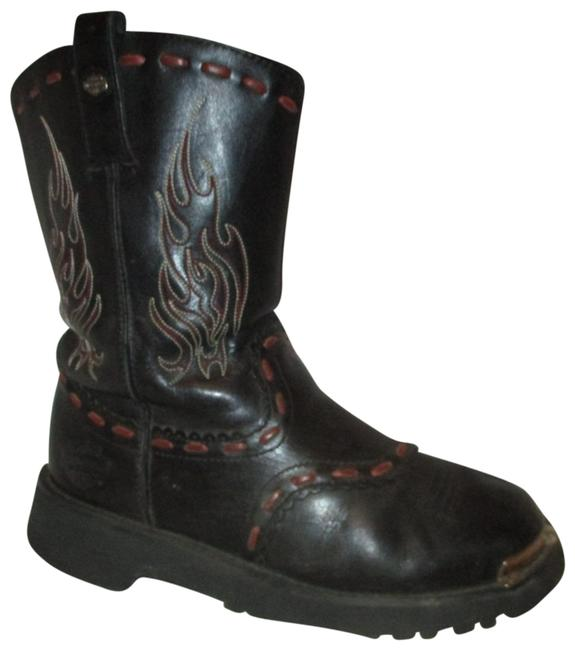 Item - Black & Red Leather Riding Boots/Booties Size US 7.5 Regular (M, B)