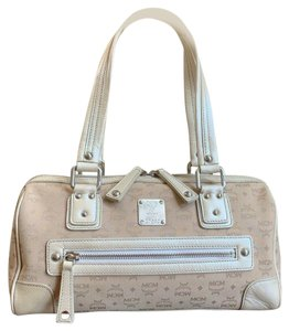 MCM Satchel Leather Studded Canvas Shoulder Bag