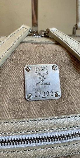 MCM Satchel Leather Studded Canvas Shoulder Bag Image 1