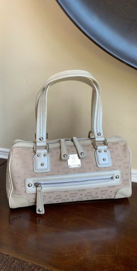 MCM Satchel Leather Studded Canvas Shoulder Bag Image 11