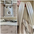 MCM Satchel Leather Studded Canvas Shoulder Bag Image 6
