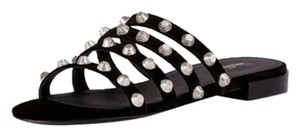 Balenciaga Studded Suede Flat Black Sandals