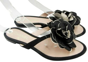 Chanel Satin Silk Camellia Black Sandals