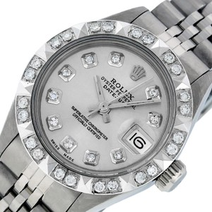 Rolex Ladies Datejust Stainless Steel with Silver Diamond Dial Watch