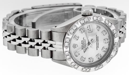 Rolex Ladies Datejust Stainless Steel with Silver Diamond Dial Watch Image 4