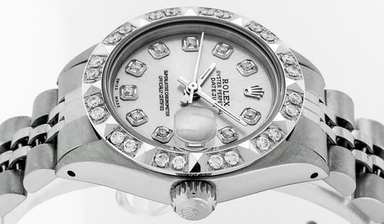 Rolex Ladies Datejust Stainless Steel with Silver Diamond Dial Watch Image 8