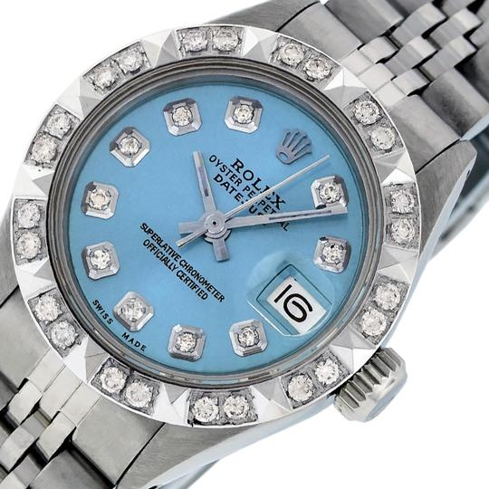 Preload https://img-static.tradesy.com/item/25814411/rolex-sky-blue-ladies-datejust-stainless-steel-with-diamond-dial-watch-0-1-540-540.jpg