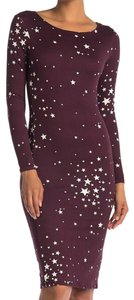 Velvet Torch Star Star Print Long Sleeve Burgundy Dress
