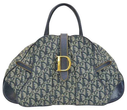 Preload https://img-static.tradesy.com/item/25814541/dior-large-christian-navy-double-saddle-bowler-ghw-blue-monogram-canvas-satchel-0-1-540-540.jpg