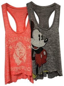 Disney Mickey Mouse Razor Back Lot Summer Top Grey
