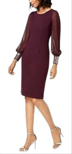 Item - Burgundy/Aubergine Embellished Cuff Mid-length Night Out Dress Size 8 (M)