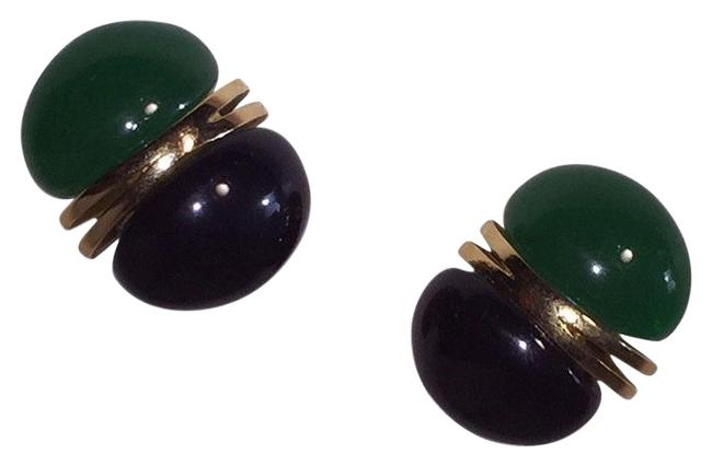 Item - Green Black And Bakelite Oblong Abstract Earrings Necklace