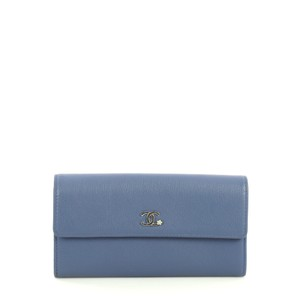 Chanel Cc Gusset Flap Wallet Goatskin blue Clutch