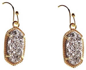 Kendra Scott BRAND NEW Kendra Scott Lee Oval GOLD Platinum Drusy Earrings
