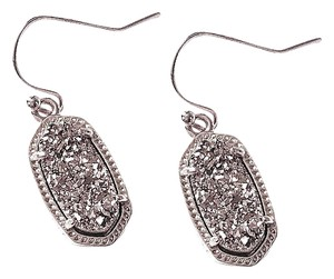 Kendra Scott BRAND NEW Kendra Scott Lee Oval SILVER Platinum Drusy Earrings