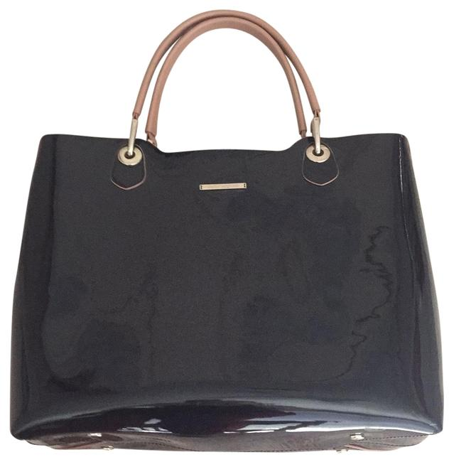 Item - Suede Black Faux Leather Metallic Details Tote