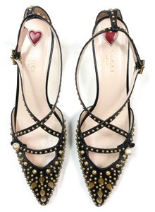 Gucci Gg Bamboo Studded BLACK Pumps