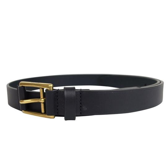Gucci Navy Blue Feather Leather Belt Gold Buckle 275182 4009 Groomsman Gift Image 2