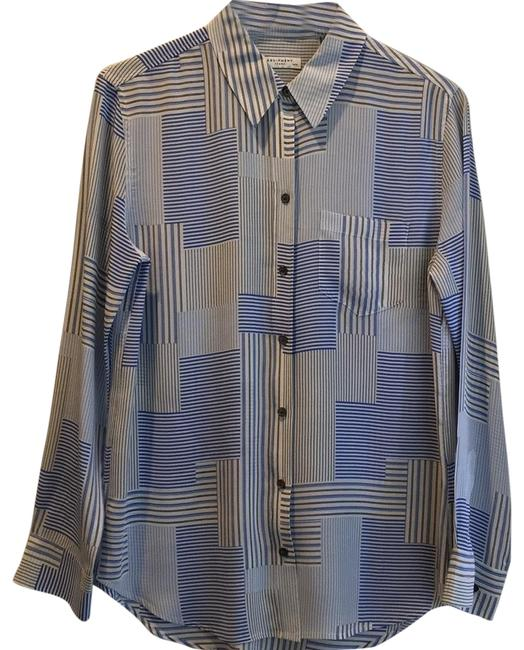 Item - Cream and Blue Silk Button Up Button-down Top Size 8 (M)