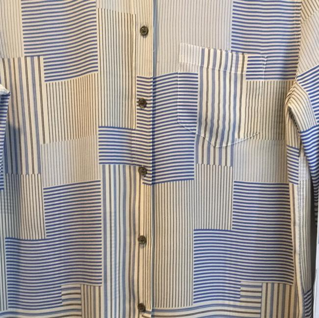 Equipment Button Down Shirt Cream and Blue Image 1