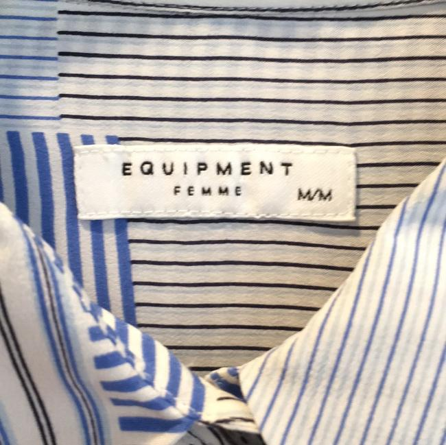 Equipment Button Down Shirt Cream and Blue Image 2