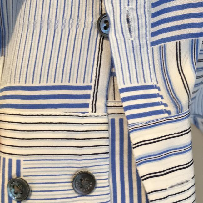 Equipment Button Down Shirt Cream and Blue Image 3