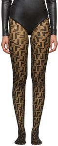 Fendi NEW FENDI BLACK LOGO FF ZUCCA TIGHTS PANTY HOSE NWT