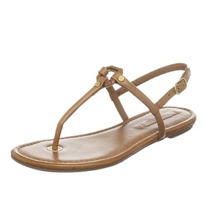BCBGMaxAzria Flats Leather Luggage Tan, Beige Sandals