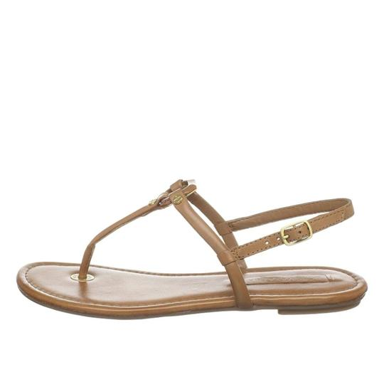 BCBGMaxAzria Flats Leather Luggage Tan, Beige Sandals Image 1