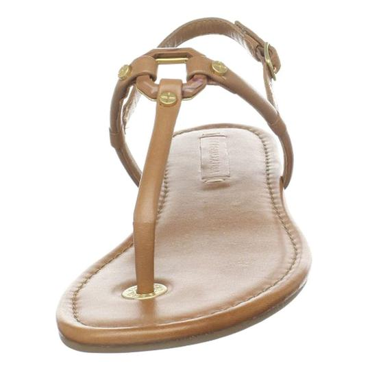 BCBGMaxAzria Flats Leather Luggage Tan, Beige Sandals Image 3